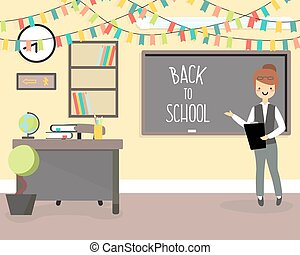 Back to school concept vector illustration in flat style