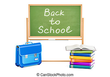 Back to school concept with books, briefcase and blackboard, 3D rendering