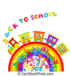 Back to school concept with cartoon train on ranbow and colored