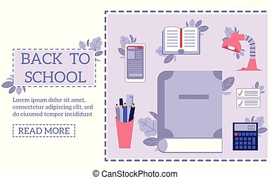 Back to school concept with education supplies and tools on web page template.