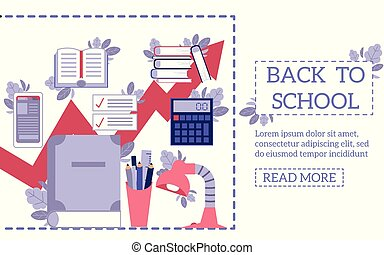 Back to school concept with education supplies and tools on web page template in flat style.