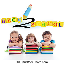Back to school concept with three kids