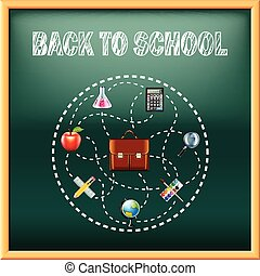 Back to school concept with tools on green blackboard