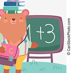 back to school cute bear with books on head education