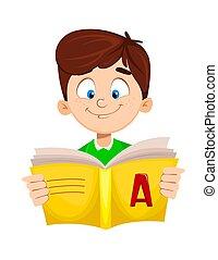 Back to school. Cute boy reading ABC book. Funny cartoon ...