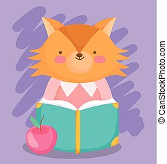 back to school, cute fox reading book with apple cartoon