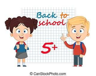 Back to school. Cute girl and boy with backpacks