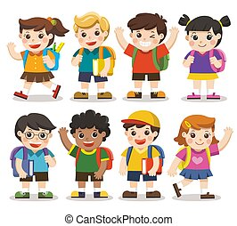 Back to school. Cute kids go to school , Set of diverse Kids and Different nationalities, isolated on white background. Isolated vector