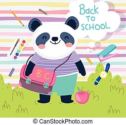 back to school cute panda with bag apple clock color education