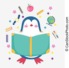back to school cute penguin reading book education