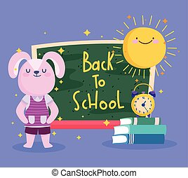 back to school, cute rabbit with chalkboard books and clock cartoon