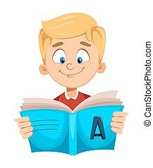 Back to school. Cute schoolboy reading book