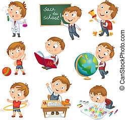 Back to school. Cute schoolchild at a lesson of geography, literature, physical education, biology, botany, chemistry, drawing. Young boy raising his hand in school. Wrote in chalk on blackboard