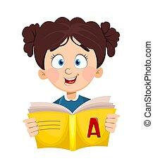 Back to school. Cute schoolgirl reading book