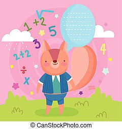 back to school cute squirrel talk bubble numbers education