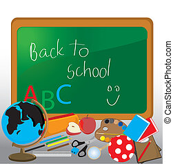 Back to School Design Elements, isolated on white background