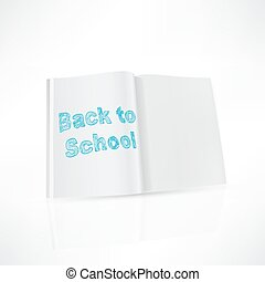 Back to school design notebook on a white background,