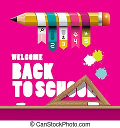 Back to School Design with Pencil, Infographic Elements, Ruler and Splashes on Pink Background