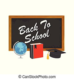 Back to school design with school supplies icons. Detailed vector illustration.