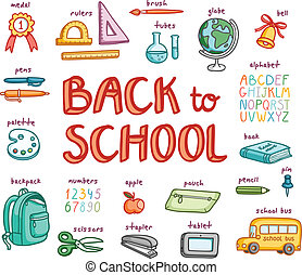 Back to school doodle collection, vector illustration