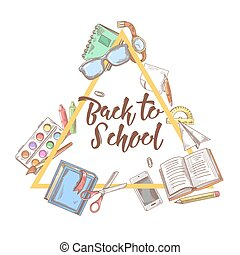 Back to School Doodle. Education Concept. Hand Drawn Set with Books, Notebook and Pen. Vector background
