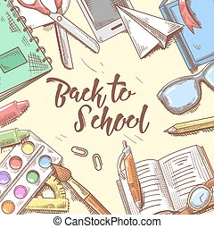 Back to School Doodle. Educational Concept. Hand Drawn Background with Books, Notebook and Pen. Vector illustration