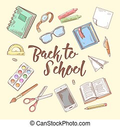 Back to School Doodle. Educational Concept. Hand Drawn Set with Books, Notebook and Pen. Vector illustration