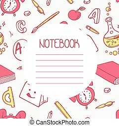 Back to school doodle notebook design and hand lettering sign. Background with hand drawn school supplies seamless pattern