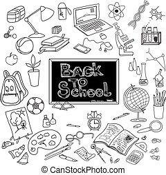 Back to school doodle poster black