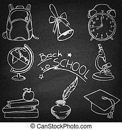Back to school doodle sketches set