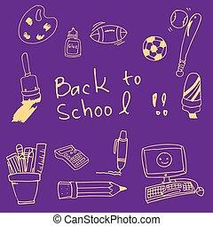Back to school doodles clasroom supplies