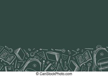 Illustration Of Back To School Doodles In Chalkboard Background