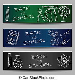 Back to school doodles on banners