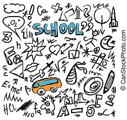 Back to school doodles set isolated