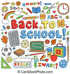 Back to School Doodles Vector Set - Back to School Classroom...