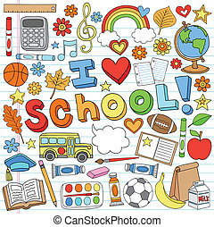 Back to School Doodles Vector Set - I Love School Classroom...