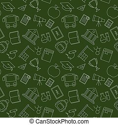 Back to School. Green Seamless pattern