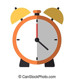 back to school education alarm clock time flat icon with shadow