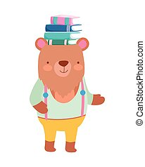 back to school education bear with books in head