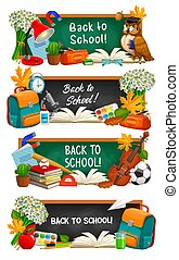 Back to school education cartoon vector banners