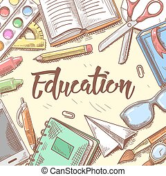 Back to School Education Concept. Hand Drawn Background with Books, Notebook and Pen. Vector illustration