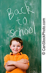 Back to school education concept with child in front of ...