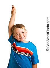 Back to school education concept with portrait of child raising his hand isolated on white