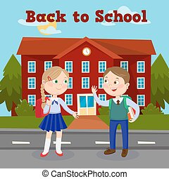 Back to School Education Concept with School Building and Pupils. Vector illustration
