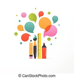 back to school - education, creativity and science concept illustration