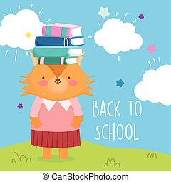 back to school education cute fox and books on head
