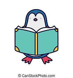 back to school education cute penguin reading book class