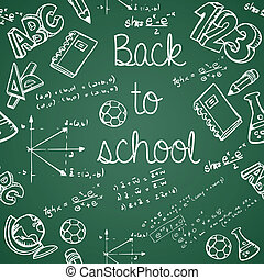 Back to School education icons green chalkboard seamless pattern background. Vector layered for easy editing.