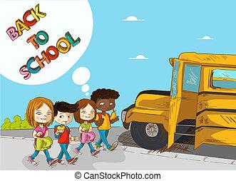 Back to school education kids walking to school bus.