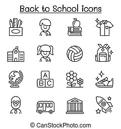 Back to school, education, kindergarten, learning icon set in thin line style